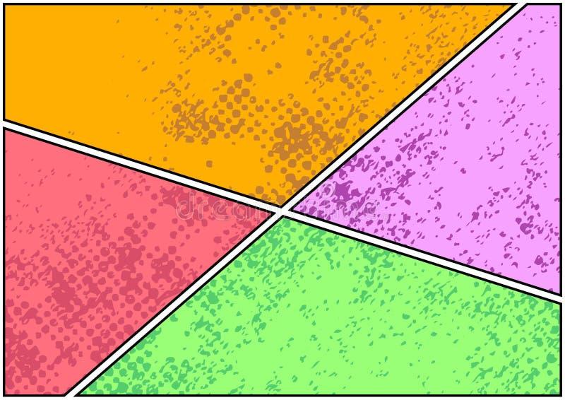 Templa brilhante fácil de usar e da mudança da cor da banda desenhada da página da tira ilustração do vetor