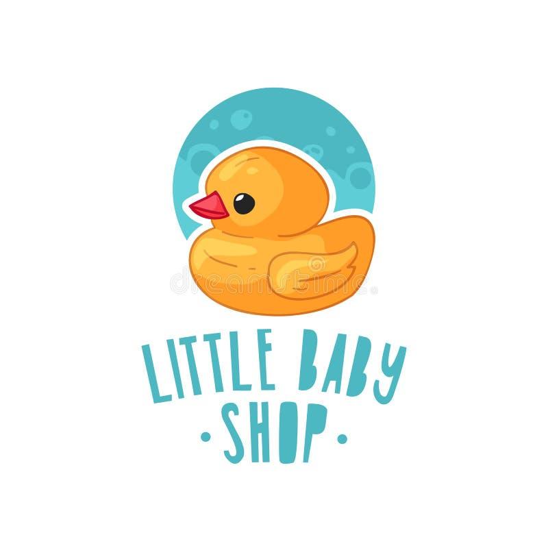 Templae projekta koloru logo dla dziecko sklepu Symbol, etykietka i odznaka dla dzieci, robimy zakupy z elementu nowonarodzonym m royalty ilustracja