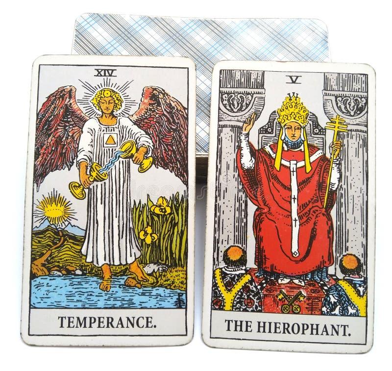 Templanza/Hierophant de la tarjeta del nacimiento del tarot stock de ilustración