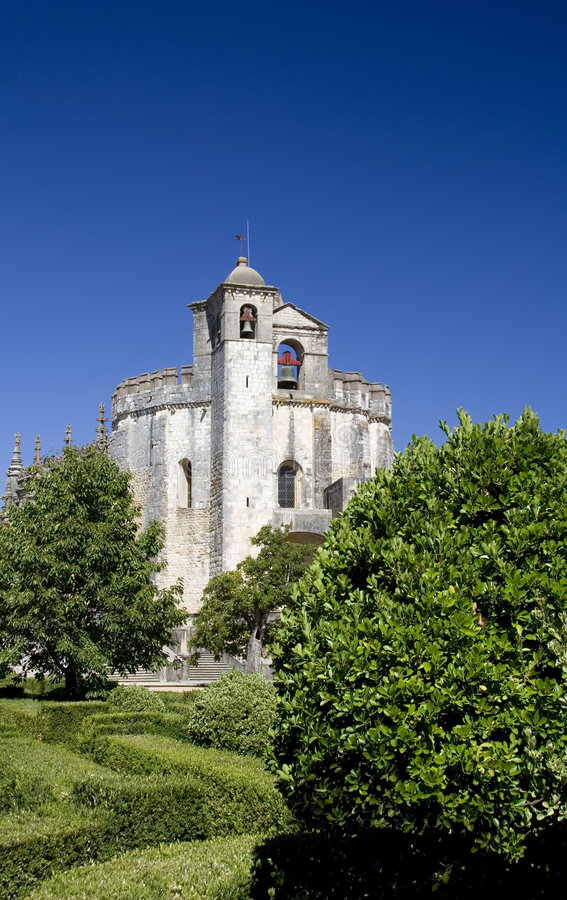 Templar Church and Garden. View of the Templar Church at the Convent of Christ (Convento de Cristo) in Tomar, Portugal. Built in the 12th century, is a UNESCO royalty free stock photography