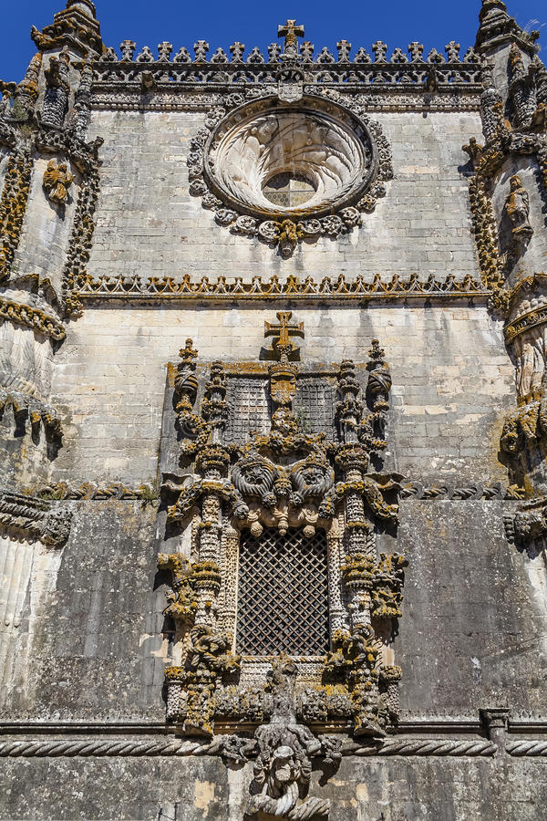 Templar Convent of Christ in Tomar, Portugal. The famous Chapter House window in the Manueline style. UNESCO World Heritage royalty free stock image