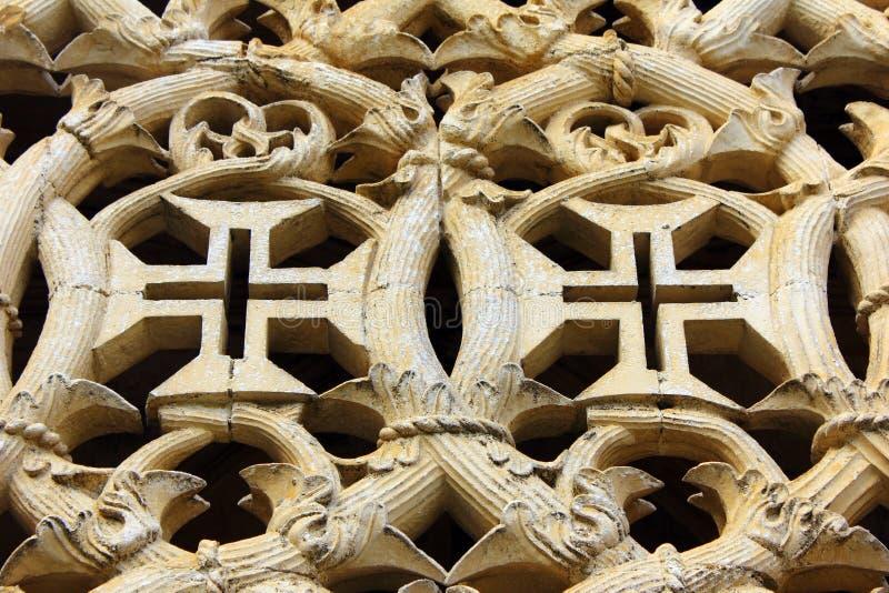 Templar Cross. At the Batalha Monastery, Portugal stock image