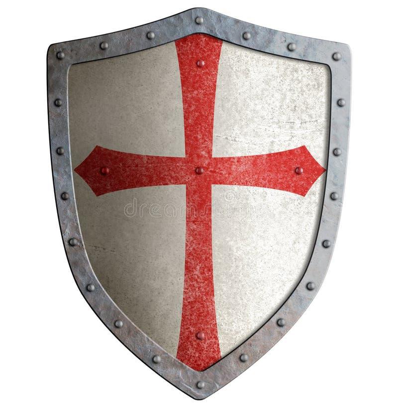 Templar eller korsfarareriddares isolerad sköld för metall royaltyfria foton