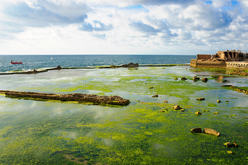 Templar Fortress in Acre. Remains of a Templar Fortress, in the old city of Acre, Israel royalty free stock photos