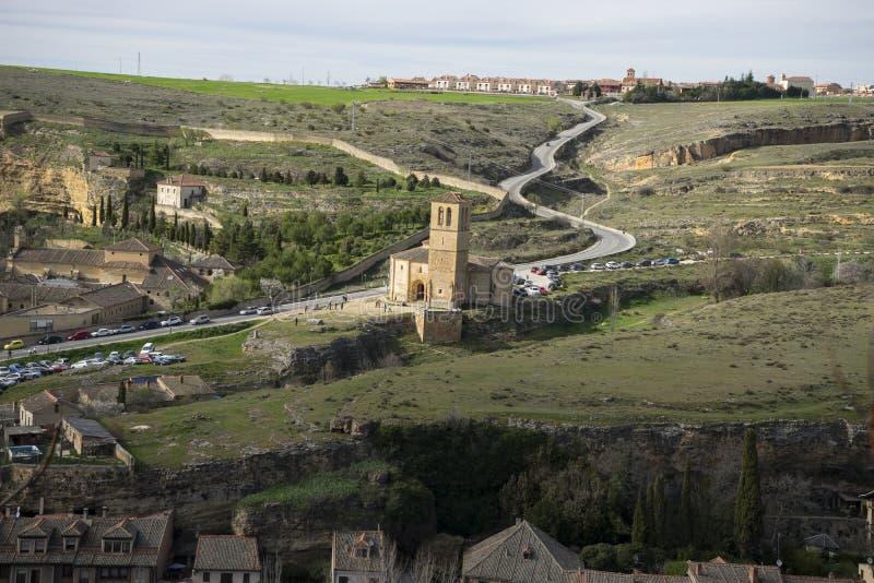 Templar kapell, flyg- sikter av den spanska staden av Segovia ANC royaltyfria bilder