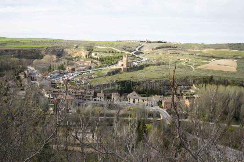 Templar kapell, flyg- sikter av den spanska staden av Segovia ANC royaltyfri fotografi