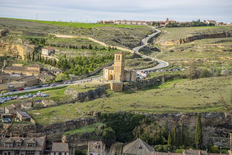 Templar kapell, flyg- sikter av den spanska staden av Segovia ANC arkivbilder
