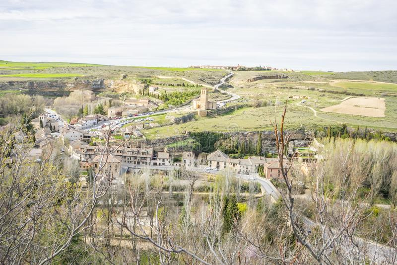 Templar kapell, flyg- sikter av den spanska staden av Segovia ANC fotografering för bildbyråer