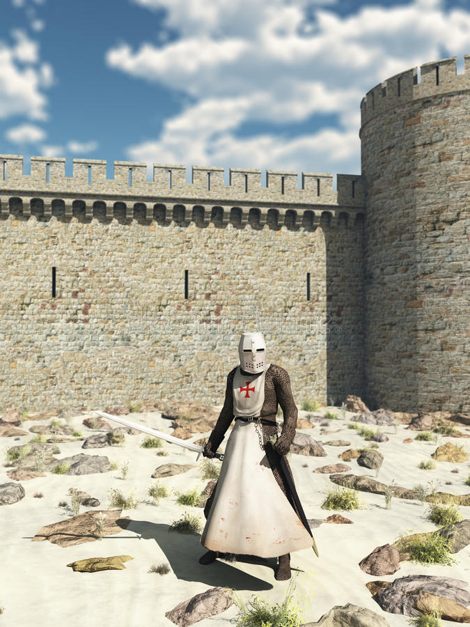 Templar Knight outside the Walls of Antioch stock illustration