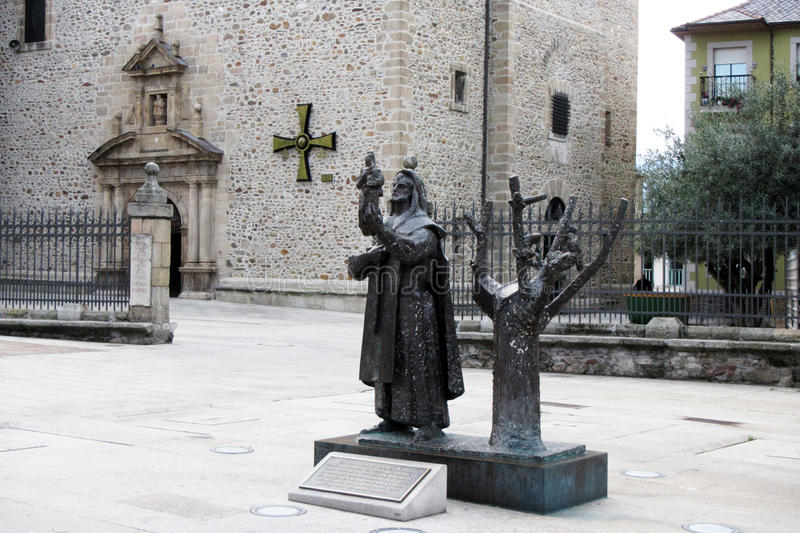 Templar knight. The statue of a knight outside the templar church of ponferrada in spain royalty free stock image