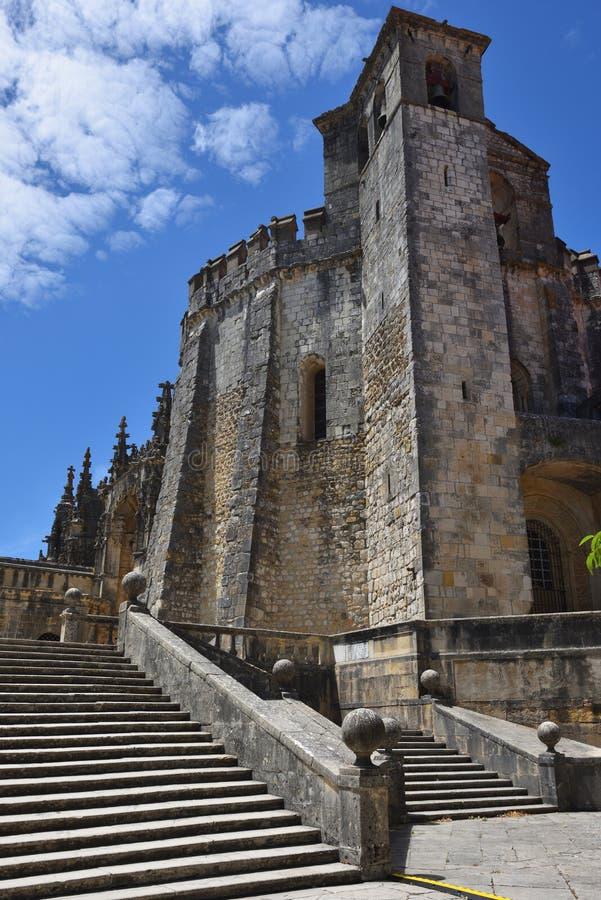 Templar kyrka av kloster av beställningen av Kristus i Tomar Po arkivfoton