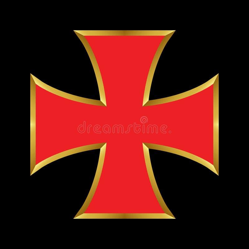 Templar Röda korset för vektor med den guld- översikten vektor illustrationer