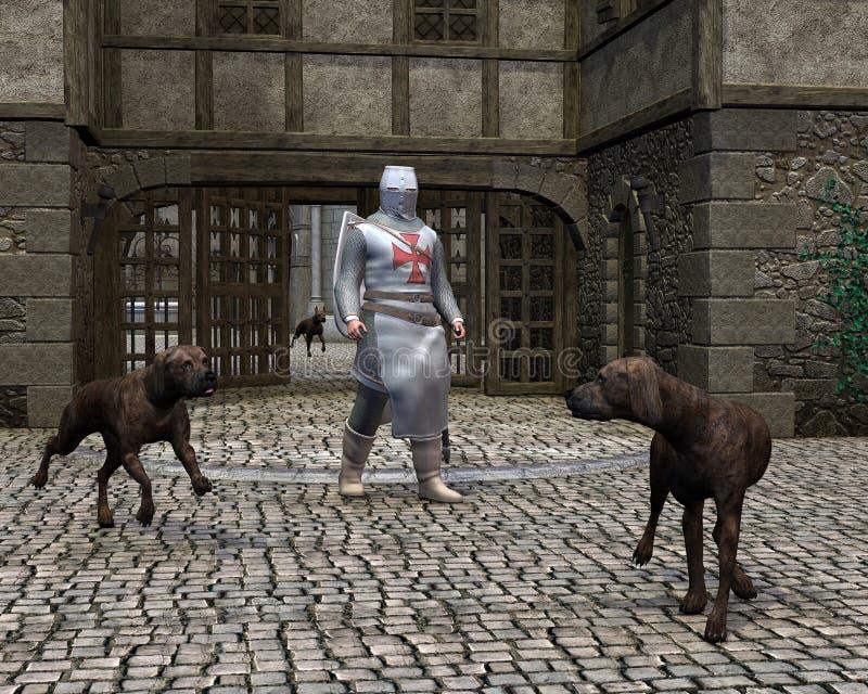 Templar Ritter-und Abdeckung-Hunde an einem Schloss-Gatter vektor abbildung