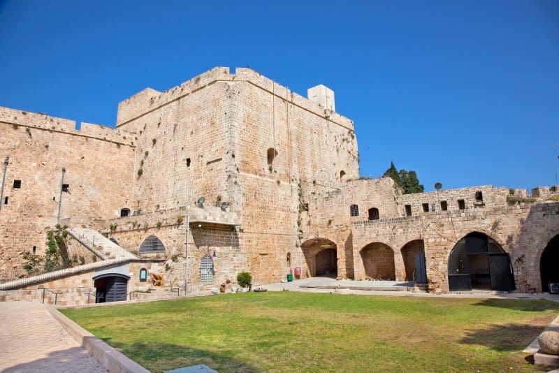 Templar Schloss des Ritters im Morgen, Israel lizenzfreies stockbild