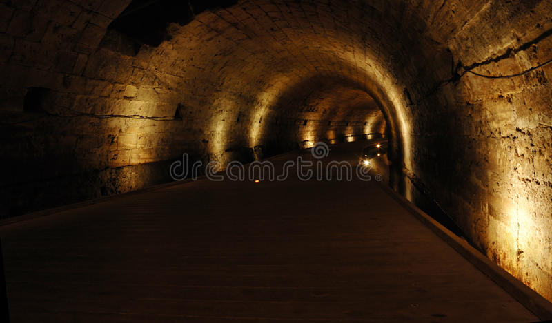 Templar tunnel at Acre -famous landmark, Israel stock photo