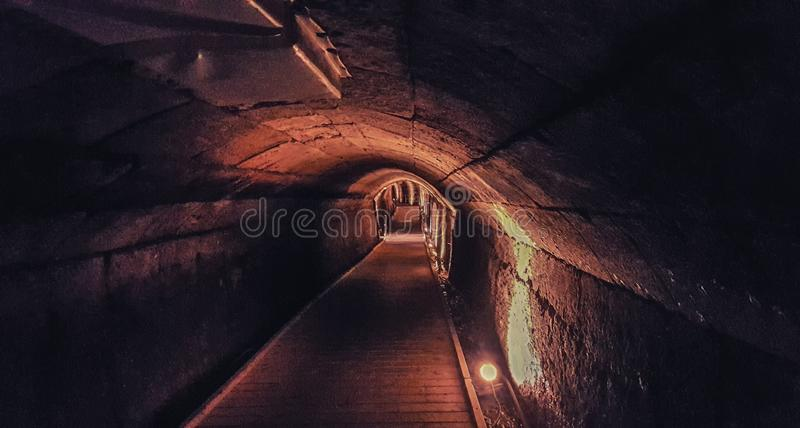 The Templar Tunnel. In old Acre, Israel royalty free stock images