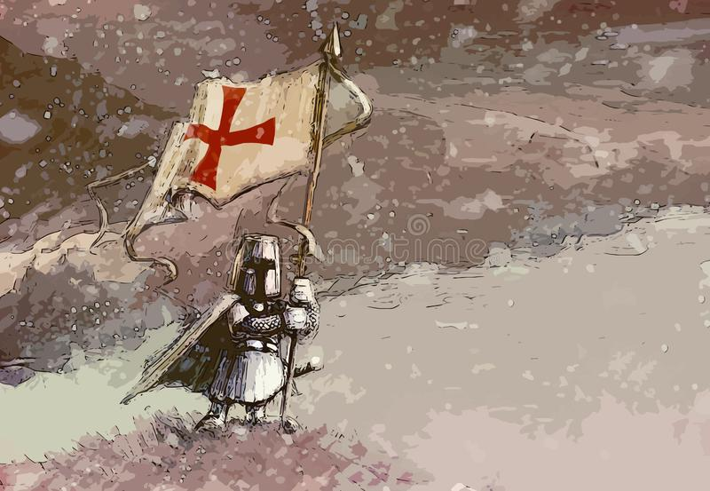 Templar - white knight standing on hill and holding banner with templar cross - cartoon funny illustration royalty free illustration
