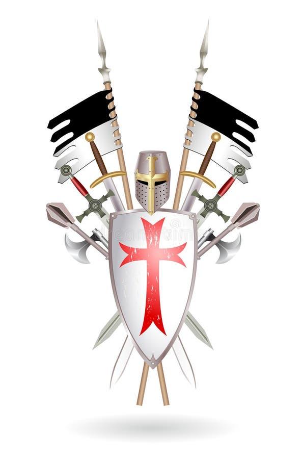 Templars vapen stock illustrationer