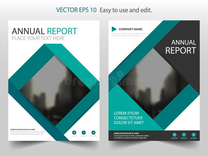 Templat cuadrado verde del aviador del folleto del prospecto del informe anual del vector libre illustration