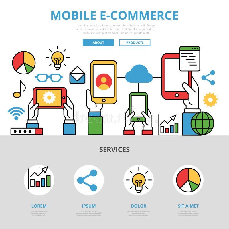 Templat móvil plano linear del infographics del comercio electrónico stock de ilustración