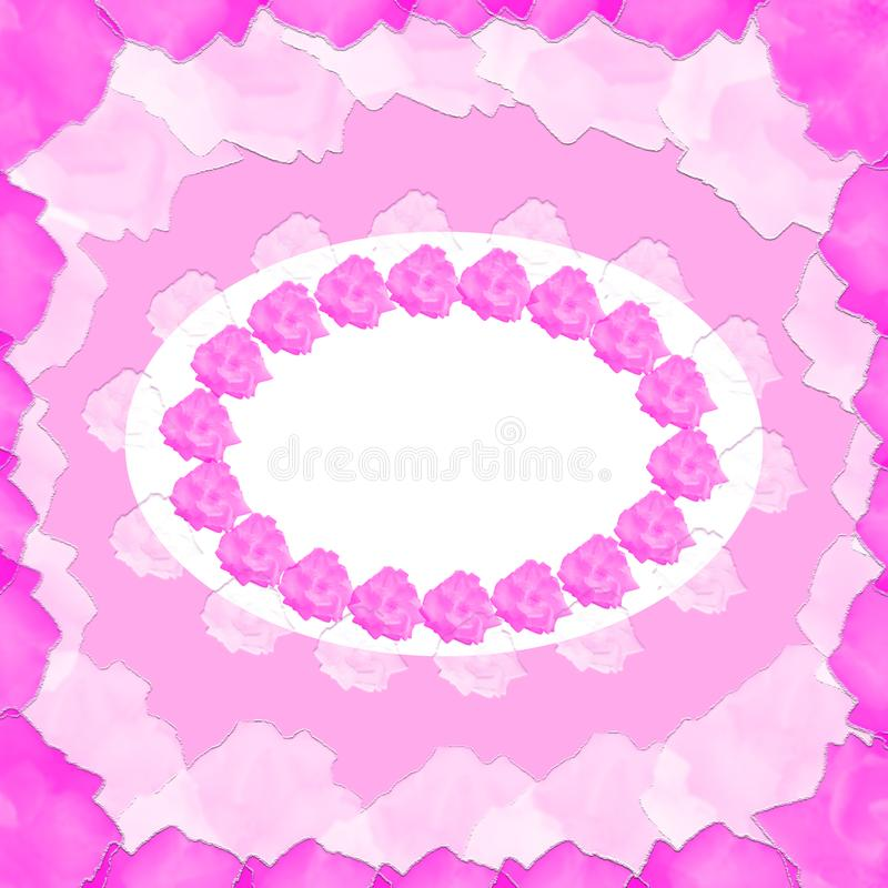 A template of the abstract invitation card with tender colors and pink roses stock photos