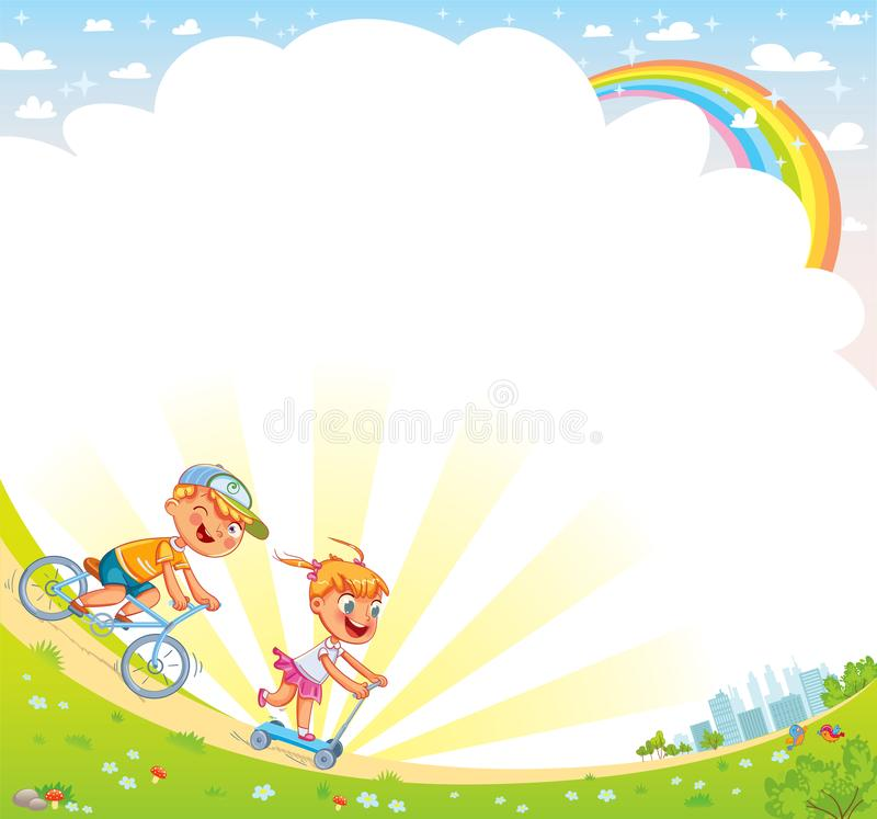 Template for advertising brochure. Kids background for your design. Children ride bicycles in a park outside the city. Template for advertising brochure. Kids stock illustration