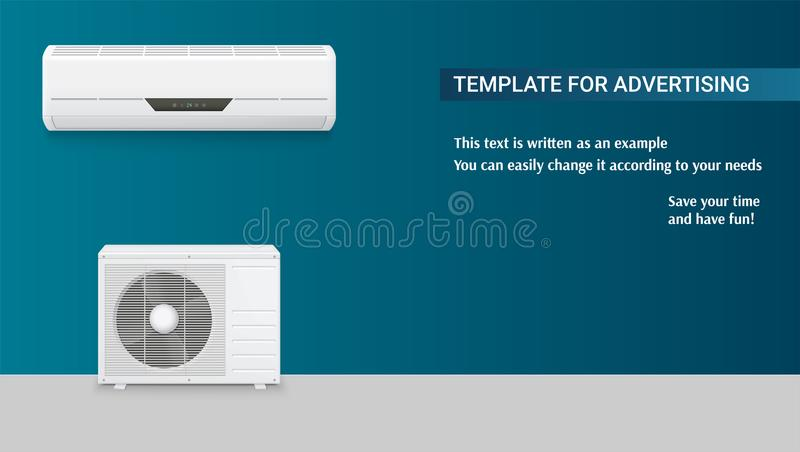 Template with air conditioning for advertisement on horizontal long backdrop, 3D illustration with example of text. Design. Icons of realistic white air vector illustration