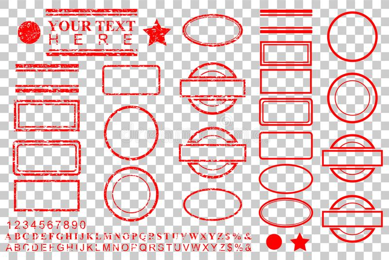Template alphabet, number, percent, dollar, dot, star, rectangle, lines oval circle rubber stamp effect for your element design vector illustration