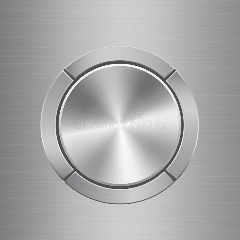 Template for audio control panel with buttons around main button. Template for audio control panel with silver metal texture buttons situated around main button stock illustration