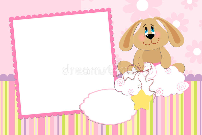 Template for baby's photo album. Or postcard stock illustration