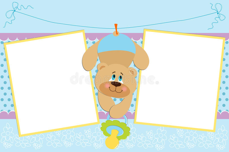 Template for baby's photo album. Or postcard royalty free illustration
