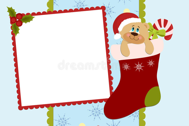 Template for baby's Xmas photo album. Or postcard stock illustration