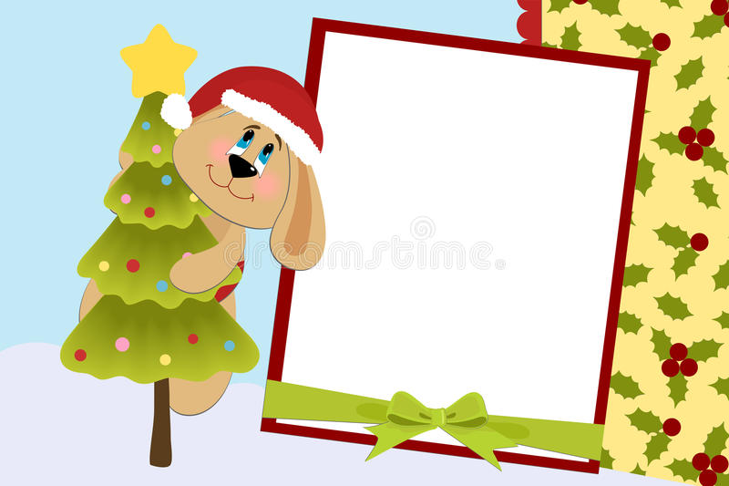 Template for baby's Xmas photo album. Or postcard royalty free illustration