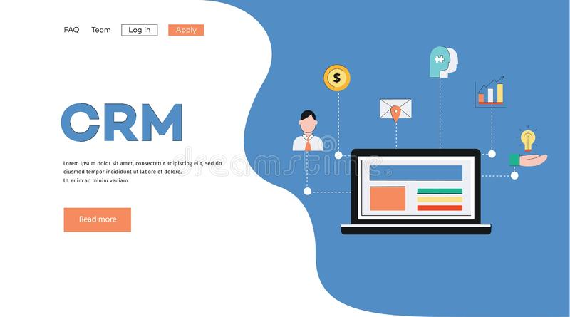 Template and background for banner with crm concept. Customer relationship management system concept with laptop and business icons for banner and landing page vector illustration