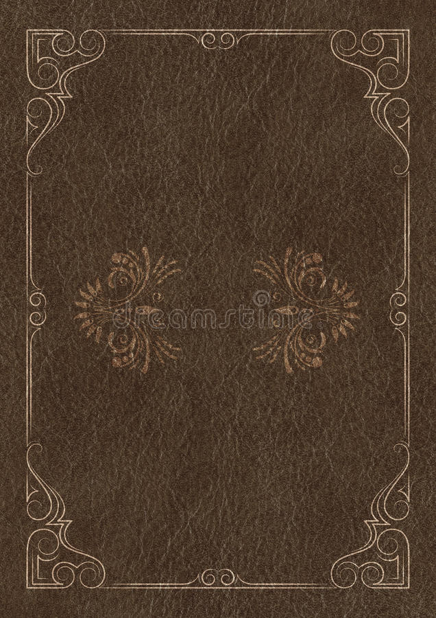 download template background with a golden framework on piece of dark leather stock illustration