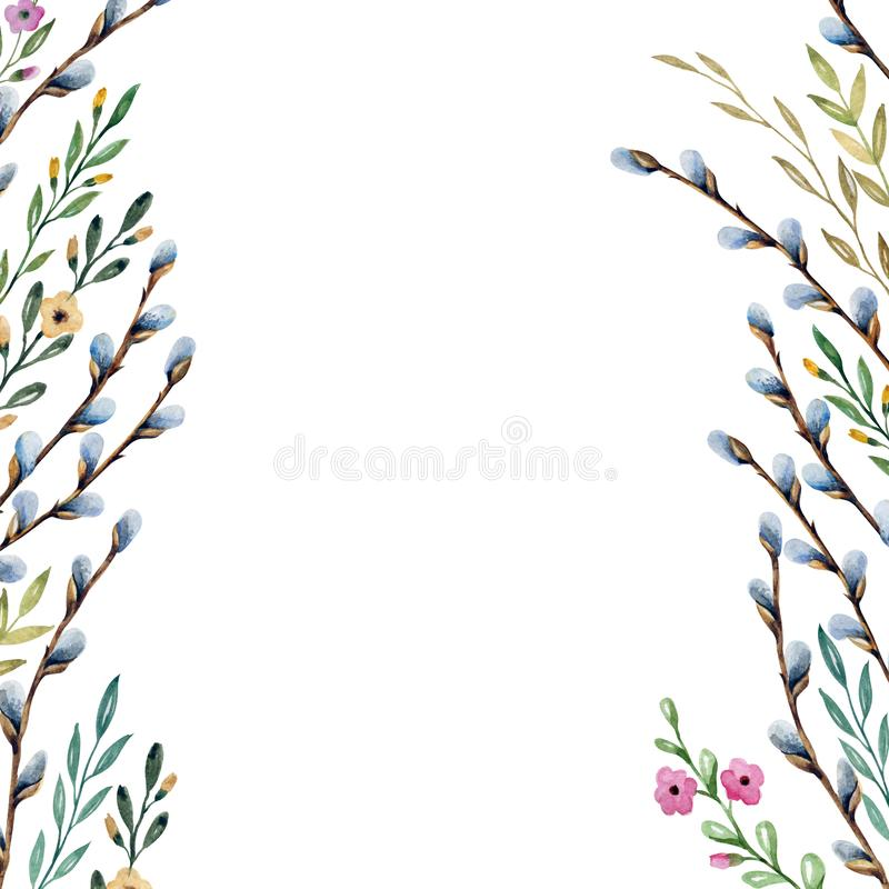 Background with flowers and plants. Watercolor drawing. stock illustration