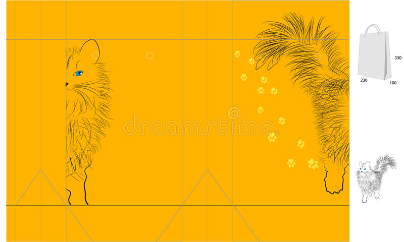 Download Template for bag with cat stock vector. Illustration of folder - 12876228
