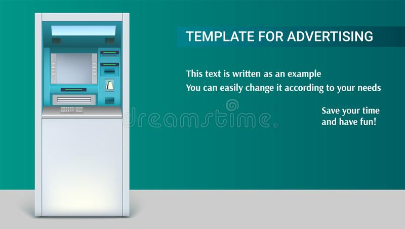 Template with Bank Cash Machine for advertisement on horizontal long backdrop, 3D illustration. ATM - Automated teller. Machine. Apparatus for withdrawing stock illustration