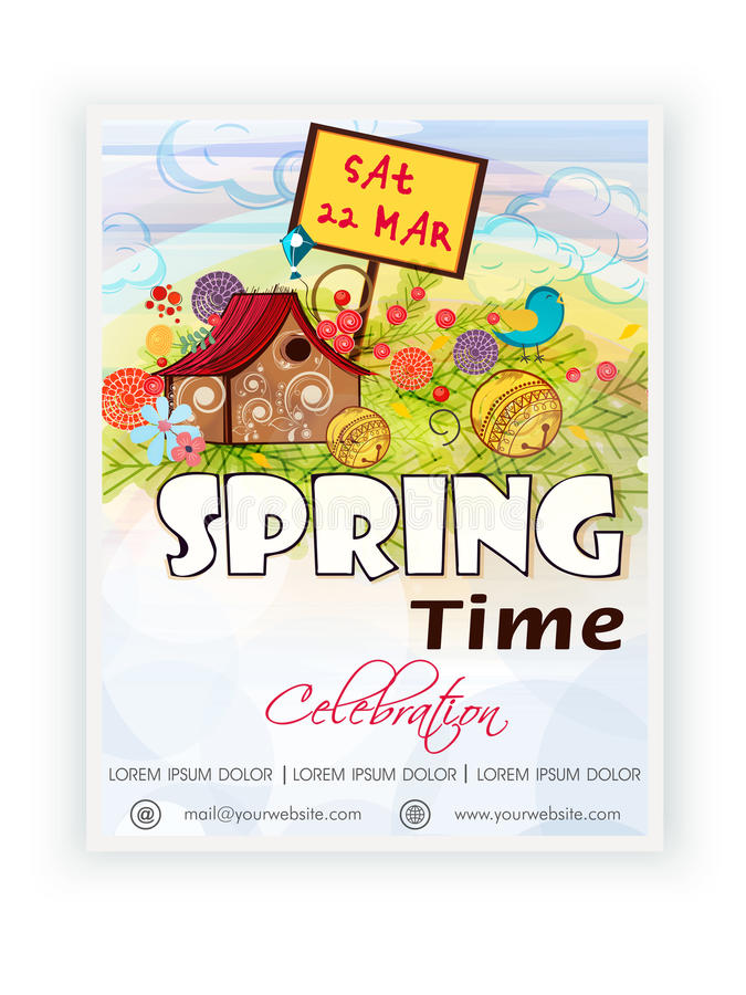 Template, banner or flyer design for spring time. Beautiful template, banner or flyer design for Spring Time celebration vector illustration