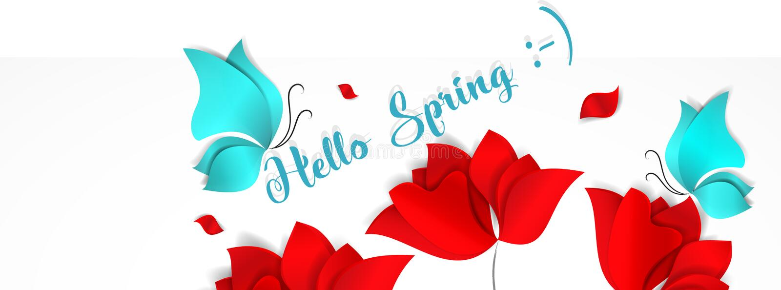 Template banner for social nerwork with place for image. Hello Spring floral 3d vector background with bright red. Flowers and blue butterflies stock illustration