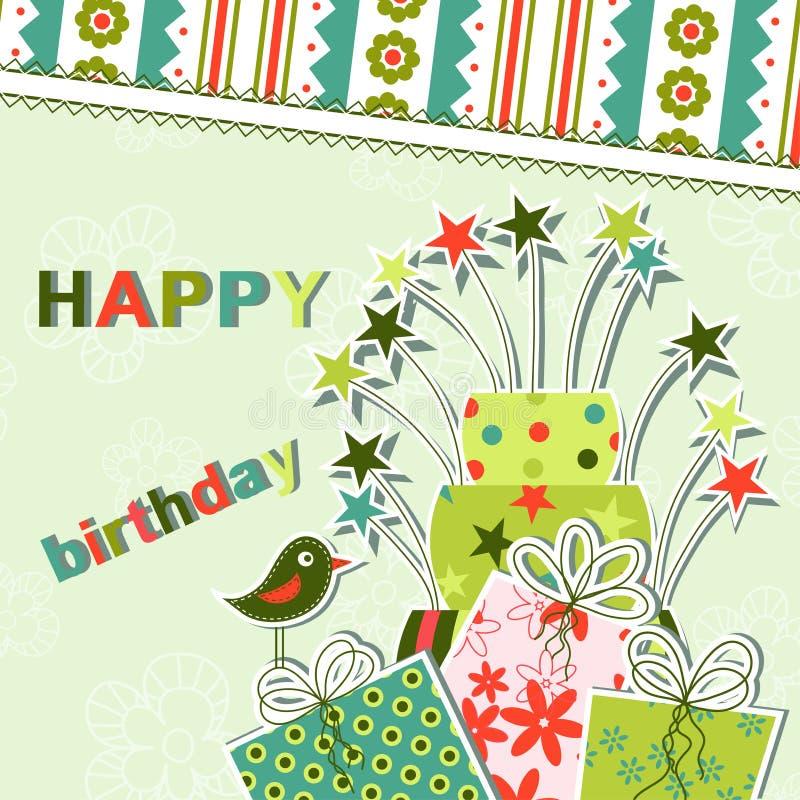 Template birthday greeting card. Illustration vector illustration