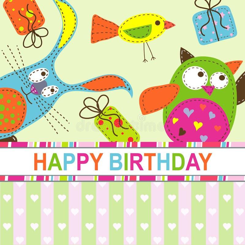Template birthday greeting card royalty free illustration