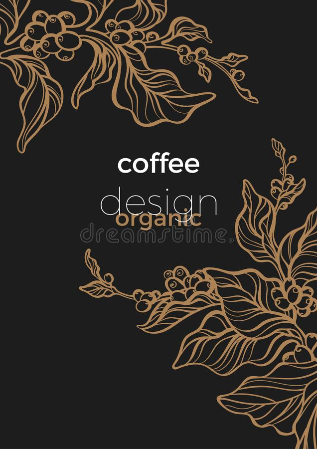 Template of black branch of coffee tree with leaves and coffee beans. Vector illustration vector illustration