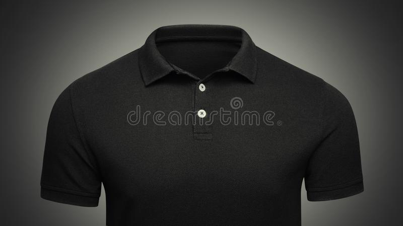Template black Polo shirt concept closeup front view. Polo T-shirt mockup with empty space on collar for your brand.  royalty free stock photos