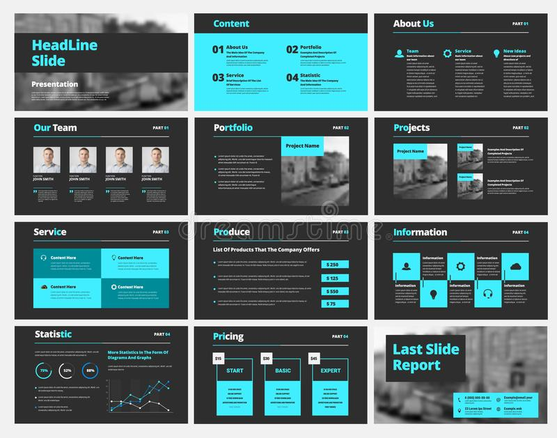 Template of black vector slides for presentations and reports with blue elements. Universal design for business and advertising, banner and brochure. Set stock illustration
