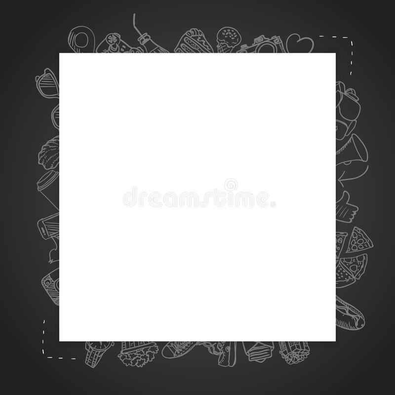 Template blank card with lots of drawing icons in the background stock photography