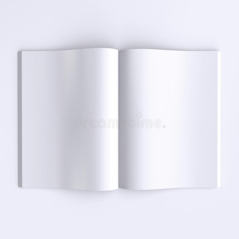 Template blank pages of an open journal, newspapers or books. 3d illustration. Top view royalty free illustration
