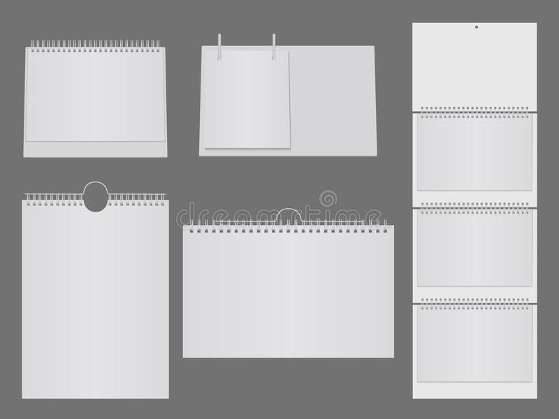 Template of blank table calendar with metal spiral. Paper page, notebook or calendar mock up, vector illustration royalty free illustration