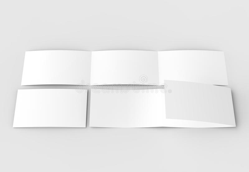 Template of blank three fold horizontal - landscape brochure mock up isolated on soft gray background. 3D illustrating.. 3D illus stock photography