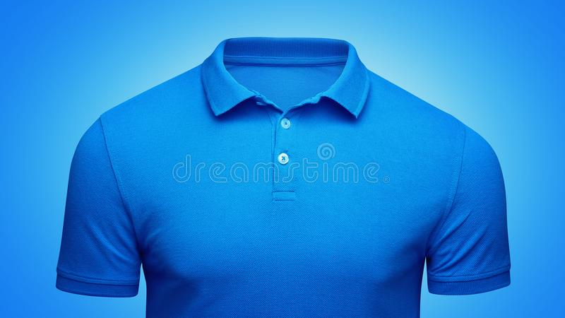 Template blue Polo shirt concept closeup front view. Polo T-shirt mockup with empty space on collar for your brand royalty free stock image